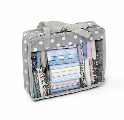 Hobby Gift Grey White Polka Dot Fat Quarter Quilting Fabric Storage Bag
