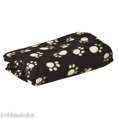 Jumbo Warm Dog Cat Bed Pet Blanket 120x145cm Black Paw Print Sofa Cover Throw