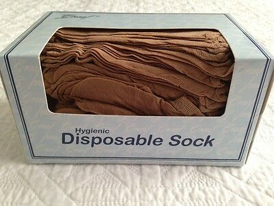 HYGIENIC DISPOSABLE SOCKS  Natural ANKLE QUICK POST AUSTRALIAN SUPPLIER       N1
