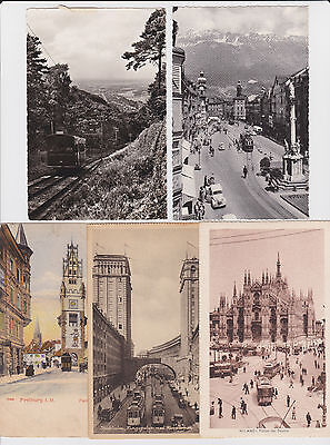 Lot of 23 Postcard with Streetcar Street Car Tram Trolley Foreign and USA