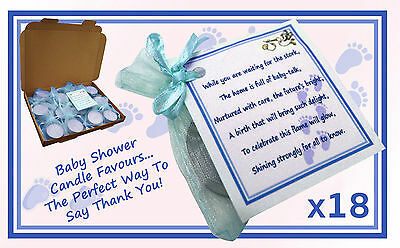 Baby Shower Scented Candle/Poem Favours - 18 Pack Blue/Boy - Gift Box - RRP £15