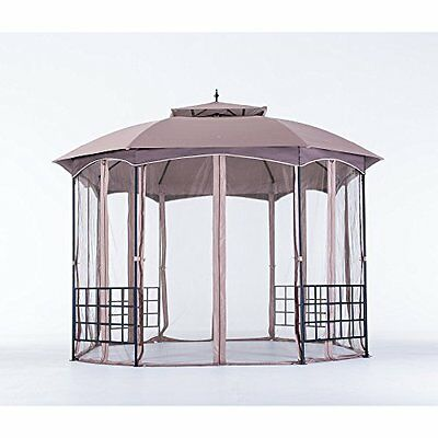 Brown Extra Large Steel Outdoor Garden Domed Vented Canopy Gazebo w Bug Netting