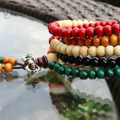 Colorful Tibetan Buddha Sandalwood Buddhist Prayer Beads Mala Bracelet GRO