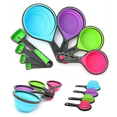 8 x Silicone Measuring Cups Set Spoon Kitchen Tool Collapsible Baking Cook UK