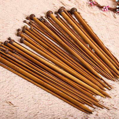 18Set 36pcs Bamboo Carbonized Single Pointed Knitting Needles Smooth Crochet