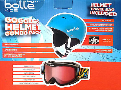 Bolle Kids Goggles and Helmet Combo Pack Ski Skiing Snowboarding Sledding | Blue