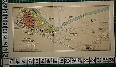 Antique India Map ~ Lucknow British Garrison Chattar Manzil Palace Guns Mortars