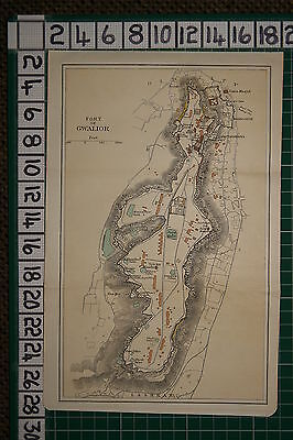 Antique India Map ~ Fort Of Gwalior Plan Bala Kila Teli-Ka Mandir Temple Gates