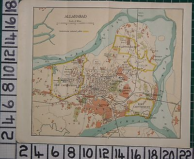 Antique India Map ~ Allahabad City Plan Fort Cantonment George Town Alfred Park