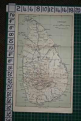 Antique India Map ~ Ceylon ~ North Central Province Uva Sabaragamuwa Ratnapura
