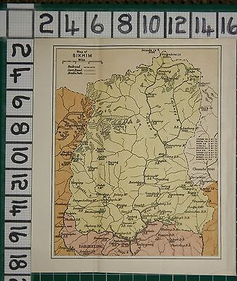 Antique India Map Sikhim Showing Railroad Cart Road Bridle Path Mountain Heights