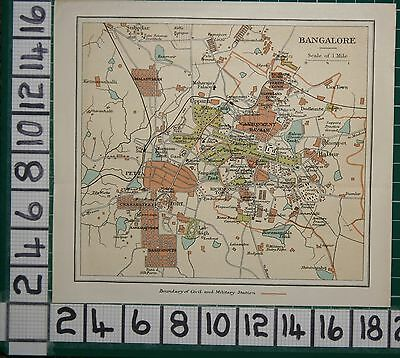Antique India Map ~ Bangalore City Plans Cantonment Bazaar Petta Fort Stations