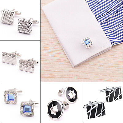 Classical Square Wedding Cufflinks Man Elegant Silver Party Gift Stainless Steel