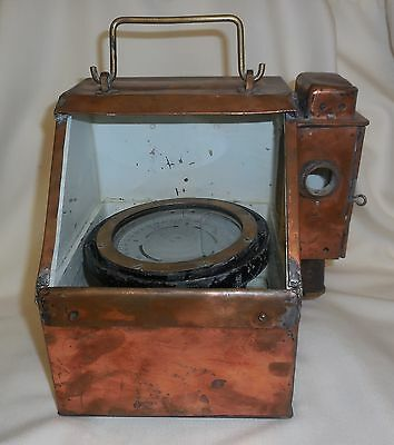 Vintage Copper & Brass Nautical Lifeboat Binnacle Compass