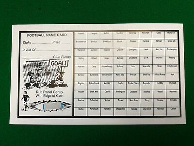 Fundraising Football Charity Event Scratch Cards 80 Team