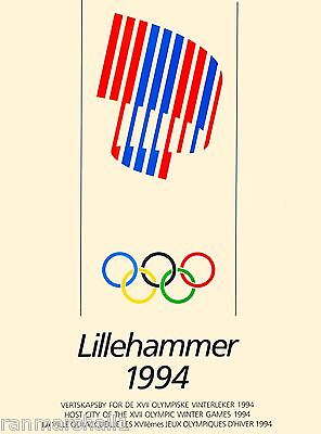 1994 Lillehammer Norway XVII Olympic Games Travel Advertisement Poster