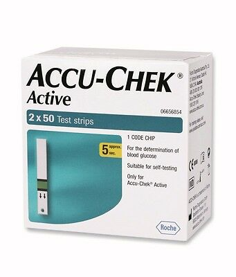 100 Test Strips for Glucometer Blood Glucose Accu-Chek Active - Expiry JUNE 2017