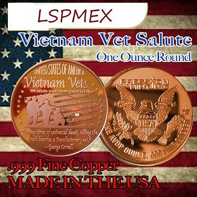 Vietnam Veterans Salute 1 oz .999 Copper BU Round USA Made American Bullion Coin