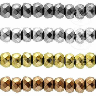 LOTTO STOCK! 10 Fili Perline EMATITE Naturale Argentato Rondelle 3x2mm Forato