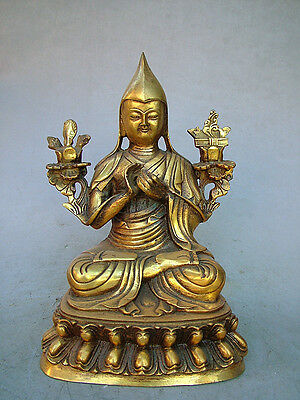 "7.2""Old Antique Chinese Ancient Collection Brass Bronze Tibet Buddha Statue"