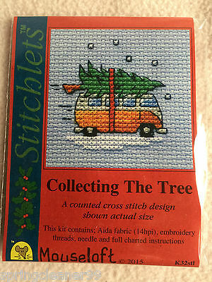 Mouseloft Stitchlets Cross Stitch Kit ~ Collecting The Tree ~ Christmas ~ New