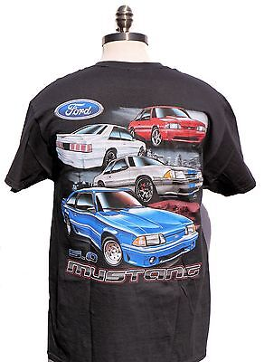 Mustang Fox Body 5.0 Brand New T Shirt With Multi Cars And 2 Sided Print Limited