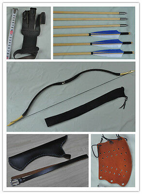 Black Snake skin Hunting Longbow With 6 Wooden Arrows Finger Arm guard Quiver18