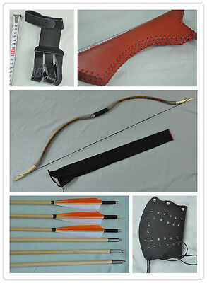 Coffee pigskin Hunting Longbow With 6 Wooden Arrows Finger Arm guard Quiver 17