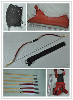 Red pigskin Hunting Longbow With 6 Wooden Arrows Finger Arm guard Quiver 20