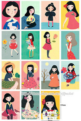 The Quiet Girl Illustration Style Home Decoration Postcards Gift Cards 14 pcs