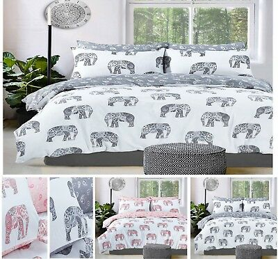 "Rosettes Reversible Print Poly Cotton Duvet Cover+Pillowcase Or Curtains 66""x72"""