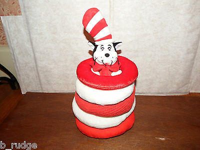 RARE Dr Seuss the Cat in the Hat stacking ring stacker soft plush toy figure