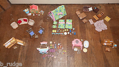 Sylvanian Families furniture bundle toy play set nursery study kitchen camping