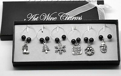 * New *  Boxed 6 X Christmas Wine / Champagne Glass Charms  - Great for Parties