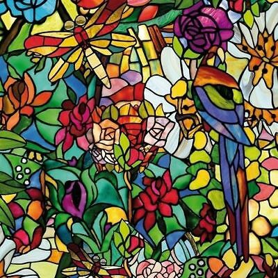 xtra Wide FROSTED FLOWER STAINED GLASS WINDOW STICKY BACK PLASTIC SELF ADHESIVE