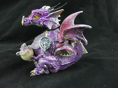 Purple/Red Dragon with Bobble Head and Light - Ornament / Statue, GOTHIC FANTASY