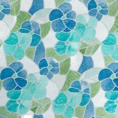 Green  Blue Leaf Stained Glass Window Sticky Back Plastic Self Adhesive Vinyl