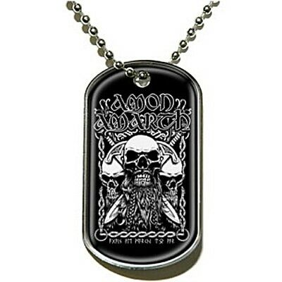 Amon Amarth Bearded Skull Dog Tag Pendant Necklace Official Metal Band Merch