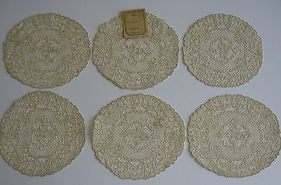 "Vintage LOT OF 6 FRENCH ECRU ALENCON LACE DOILIES 6"" to 6½"" ROUNDS FRANCE w/ TAG"