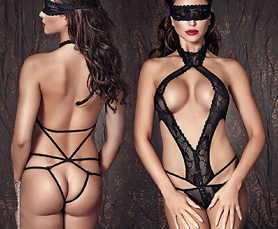 Sexy Micro Body Pizzo Nero Stringato Dietro Mascherina Nude Back Strappy Teddy S • EUR 22,90