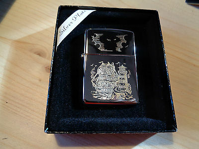 Zippo Lighter Silver Plate Gold Inlay Lighthouse New 30359Sp