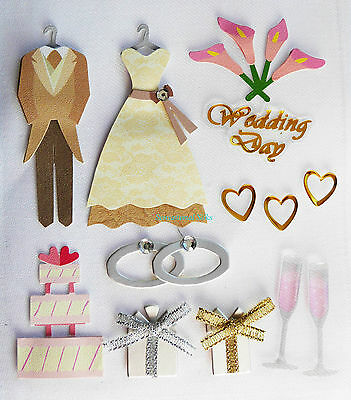 Paper Cellar 3D Vintage Wedding Embelishment, Card Craft Toppers, Adhesive