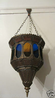 Antique Brass Open Work  Coloured Glass Ceiling Light
