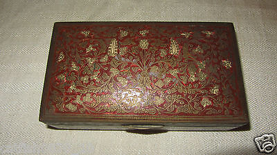 Antique Indian Brass Chased Engraved Enameled Box