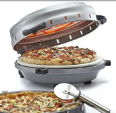 BELLA Rotating Stone Pizza Oven Kitchen Cooker Baking Countertop 12 inch Tray