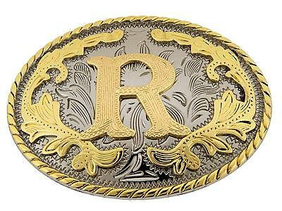 "Western Gold Color Initial Letter ""R"" Oval Rodeo Cowboy Belt Buckle"
