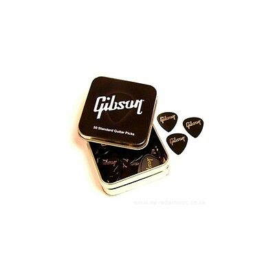 Gibson Genuine Standard Guitar Pick Tin Pack of 50 Thin Gauge FREE UK DELIVERY