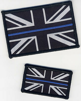 Police The Thin Blue Line Woven Badge Patch Union Jack Flag (Choice of Backing)