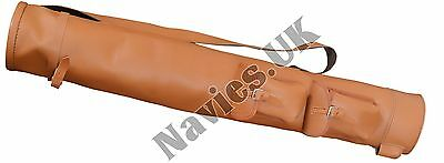 Vintage Tan Brown Leather Tube Golf Club Carrying Bag + 2 Pockets Retro Style