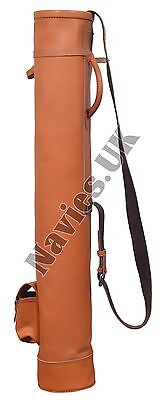 Vintage Retro Style Tan Leather Tube Golf Club Carrying Bag With 1 Pocket